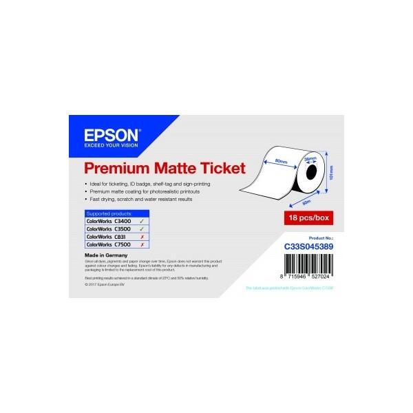 EPSON Premium Matte Ticket - Roll: 80mm x 50m